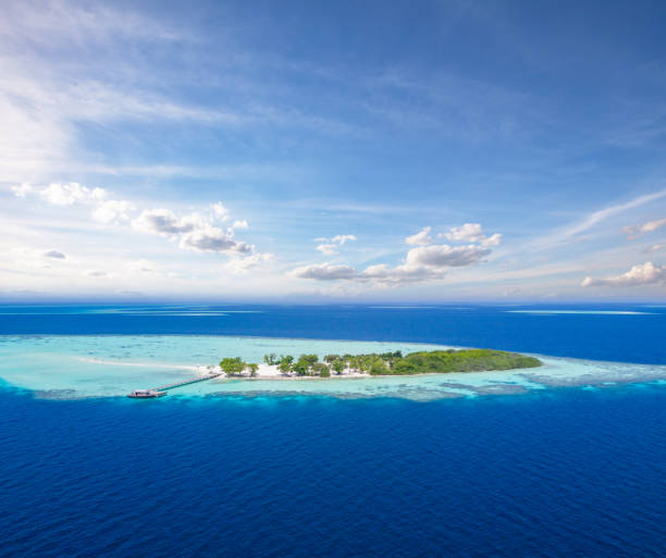 Beautiful small tropical island on Maldives Beautiful small tropical island on Maldives, aerial view. Travel, vacation and beach holiday concept military private stock pictures, royalty-free photos & images
