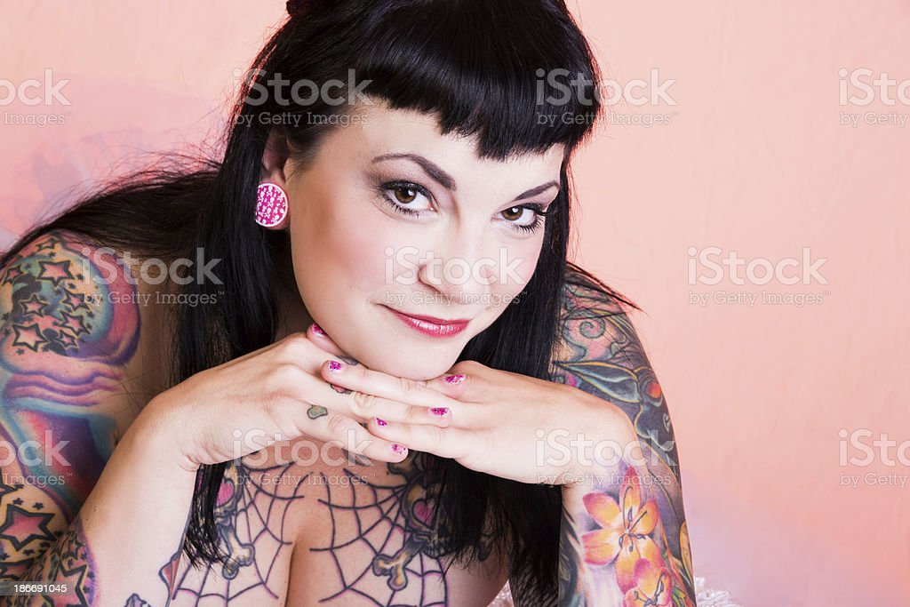 Beautiful smart mid adult pinup model. royalty-free stock photo