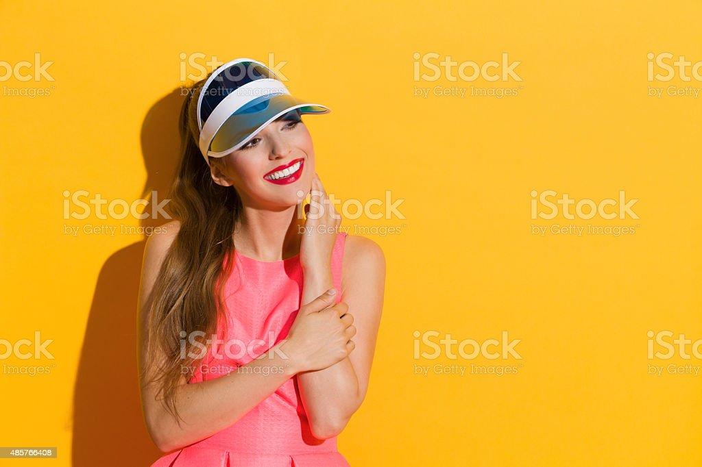 Beautiful Smile And Pink Dress stock photo