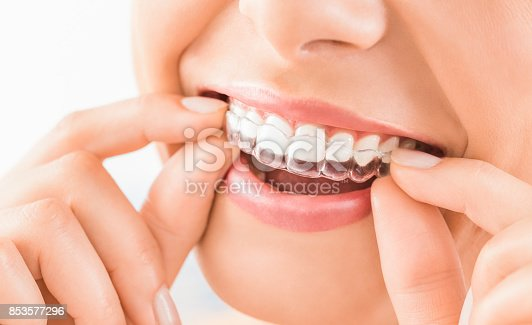 istock Beautiful smile and white teeth of a young woman. 853577296
