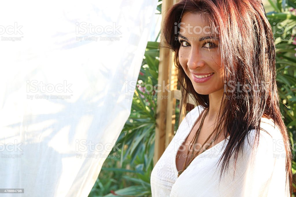 beautiful smiling brunette stock photo