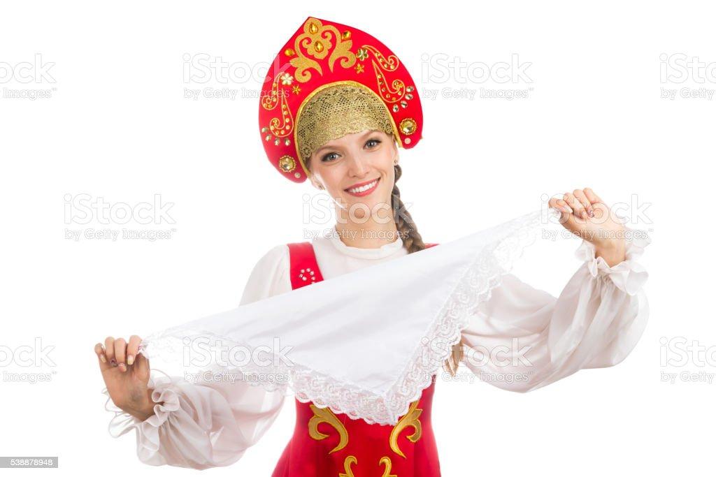 Schones Lacheln Madchen In Russische Folklore Kleidung Stockfoto