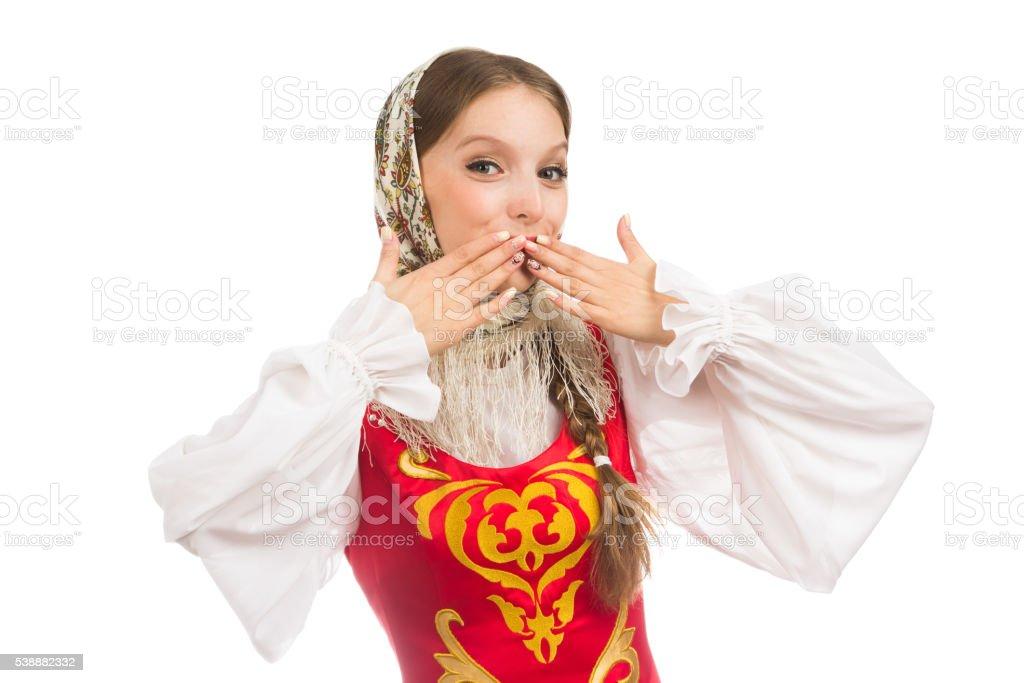 Schones Lacheln Madchen In Russische Folklore Kleidung Stock
