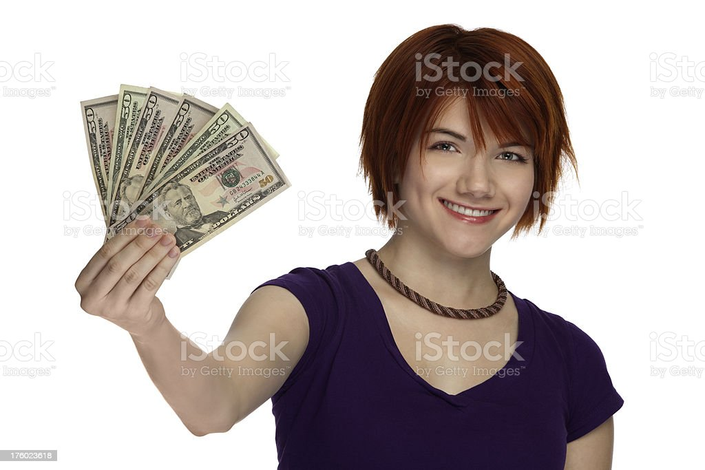 Beautiful Smiling Woman Holding Money royalty-free stock photo