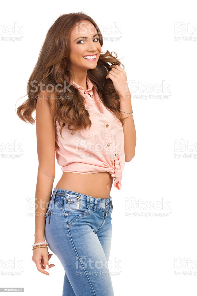 Beautiful Smiling Woman In Pastel Pink Shirt royalty-free stock photo