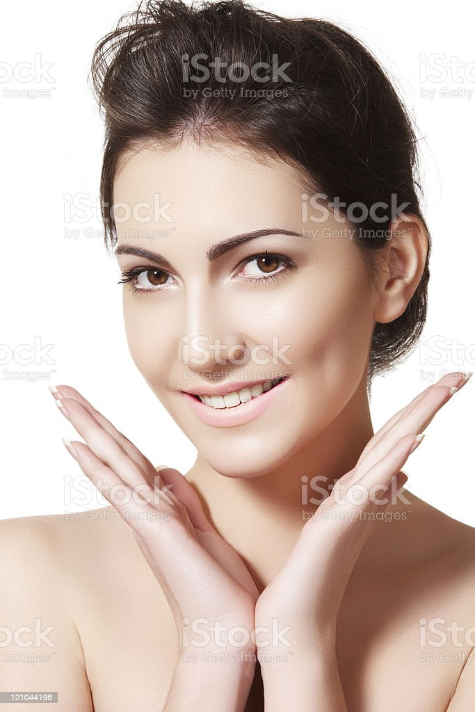Beautiful smiling woman model shows her perfect purity face stock photo