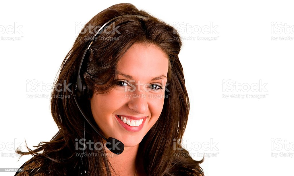 Beautiful Smiling Woman Wearing Headset royalty-free stock photo