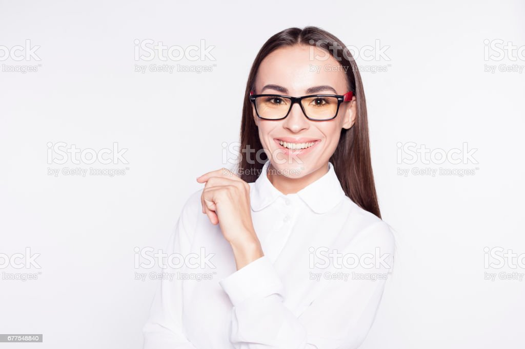 Beautiful smiling young businesswoman on glasses isolated on white. royalty-free stock photo