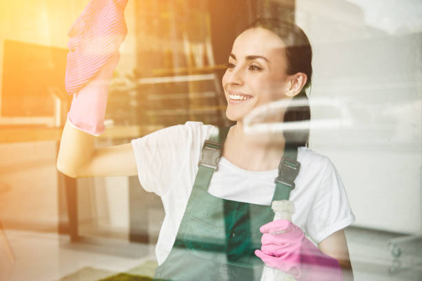 beautiful smiling young woman cleaning and wiping window with spray bottle and rag beautiful smiling young woman cleaning and wiping window with spray bottle and rag cleaner stock pictures, royalty-free photos & images