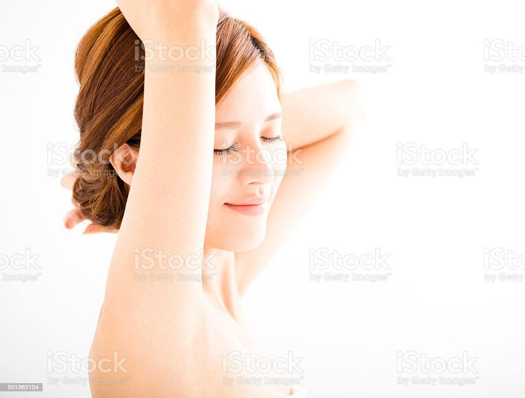 beautiful smiling Young woman with clean armpit stock photo