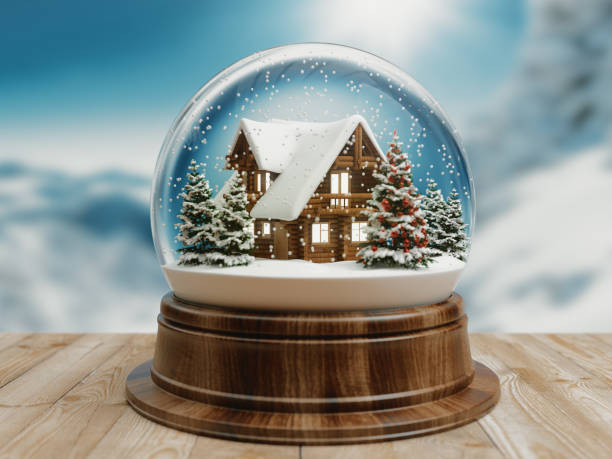 Beautiful snow ball or snowglobe with snowfall and Christmas tree inside. 3d rendering stock photo