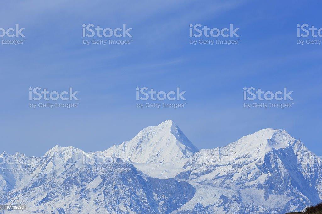 beautiful snow mountain landscape stock photo