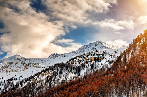 Beautiful snowcapped french Alps mountain peaks in winter during a sunny day