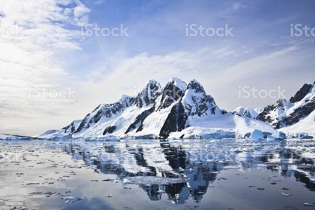 Beautiful snow-capped mountains stock photo