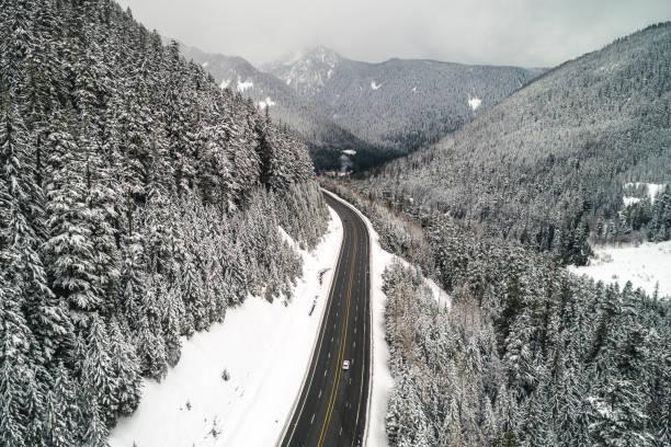 Beautiful Snowy Mountain Road Landscape Scenic Route stock photo