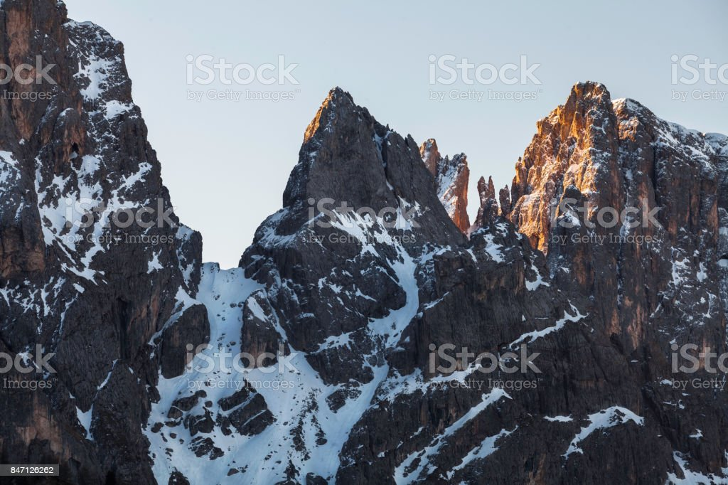 Beautiful snowy peaks in the northen Italy stock photo