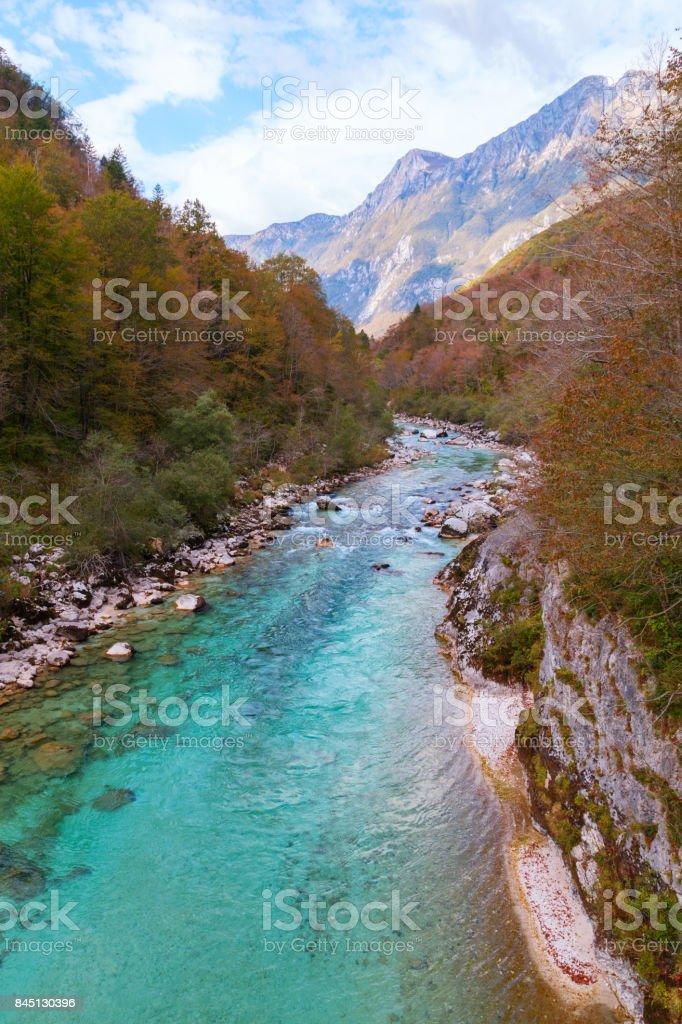 Beautiful Soca river at autumn in the Triglav National Park stock photo