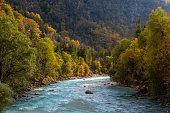 Beautiful River Soca in Autumn in Julian Alps, Trenta, Bovec, Slovenia, Europe.