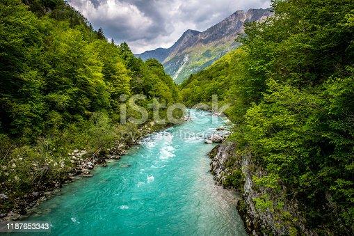 istock Beautiful Soca River near Kobarid in Slovenia, Europe 1187653343