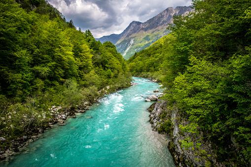Beautiful Soca River near Kobarid in Slovenia, Europe