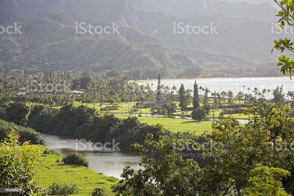 Beautiful Soft Light Over Hanalei River And Bay stock photo