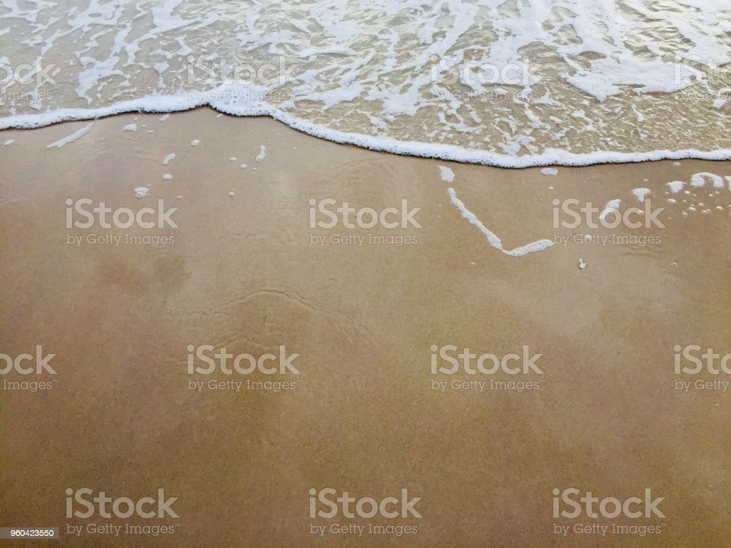 Beautiful soft wave water sea on sand beach for background. stock photo