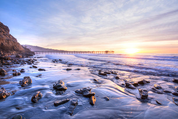 Beautiful southern California coastline at sunset stock photo