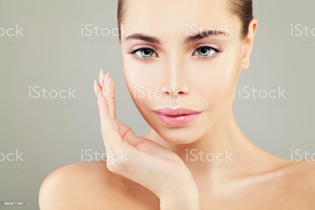 Schönes Spa Modell Frau Mit Gesunder Haut Perfektes Gesicht Stock