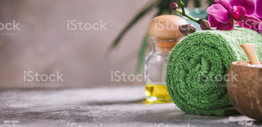 Beautiful Spa Products on concrete background stock photo