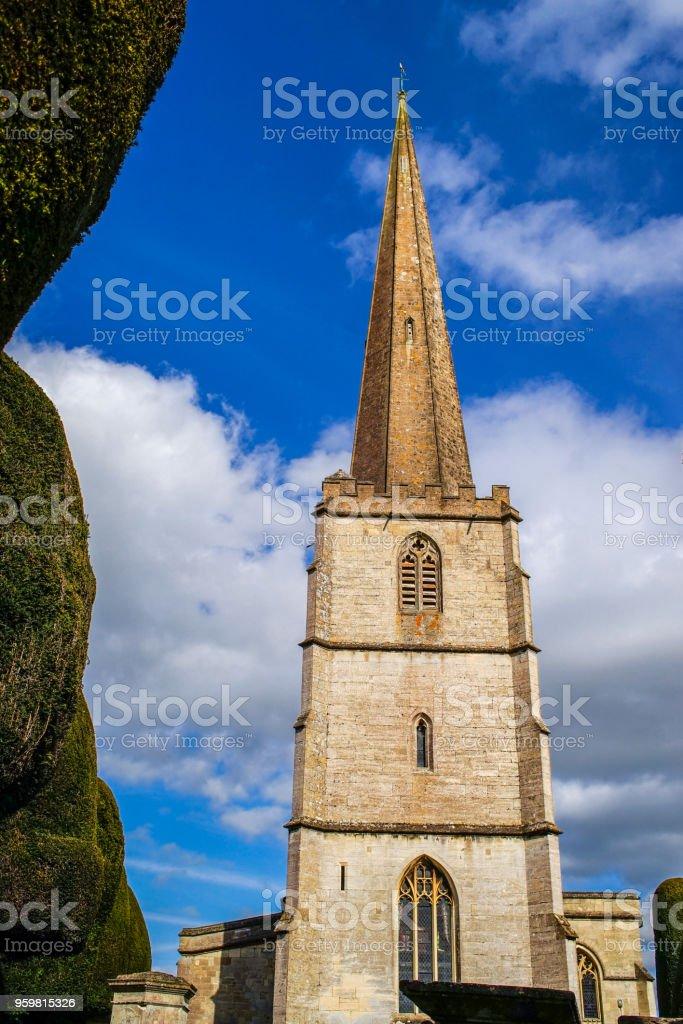 Beautiful Spire of St. Mary's Church, Painswick, Cotswold stock photo