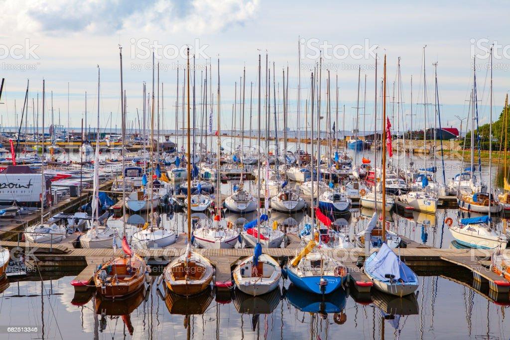 TALLINN, ESTONIA - AUGUST 03, 2016: Beautiful sport club for yachts, season is ongoing royalty-free stock photo