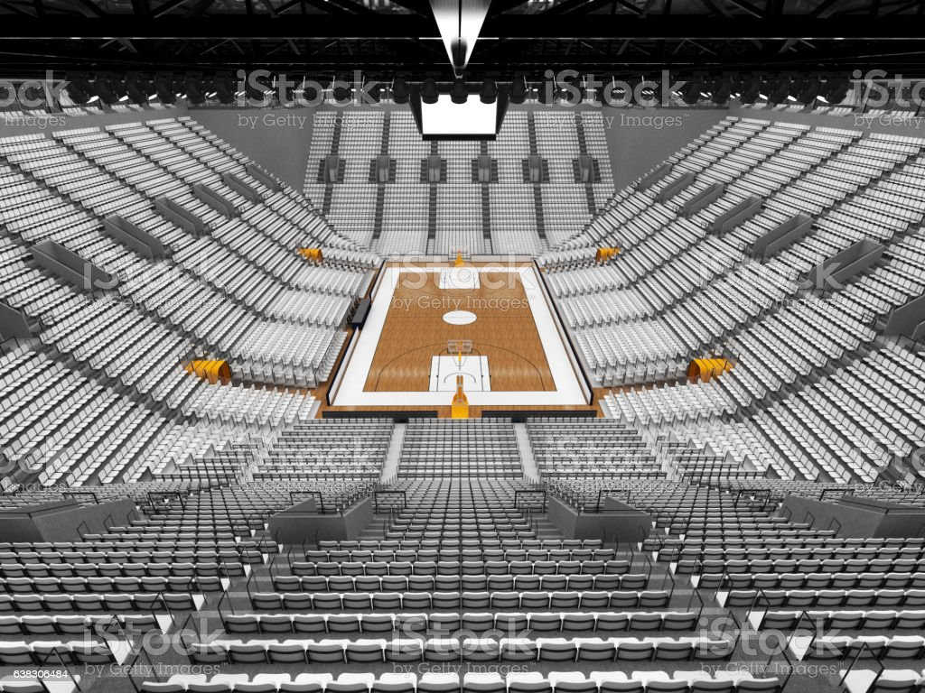 3D render of beautiful sports arena for basketball with floodlights...