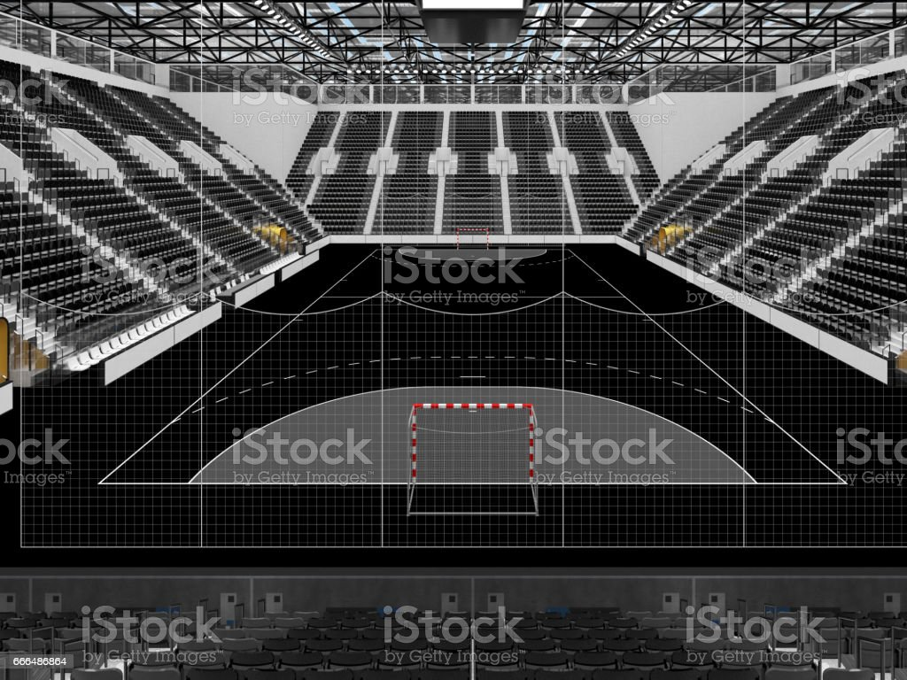 Beautiful sports arena for handball with black seats and VIP boxes stock photo
