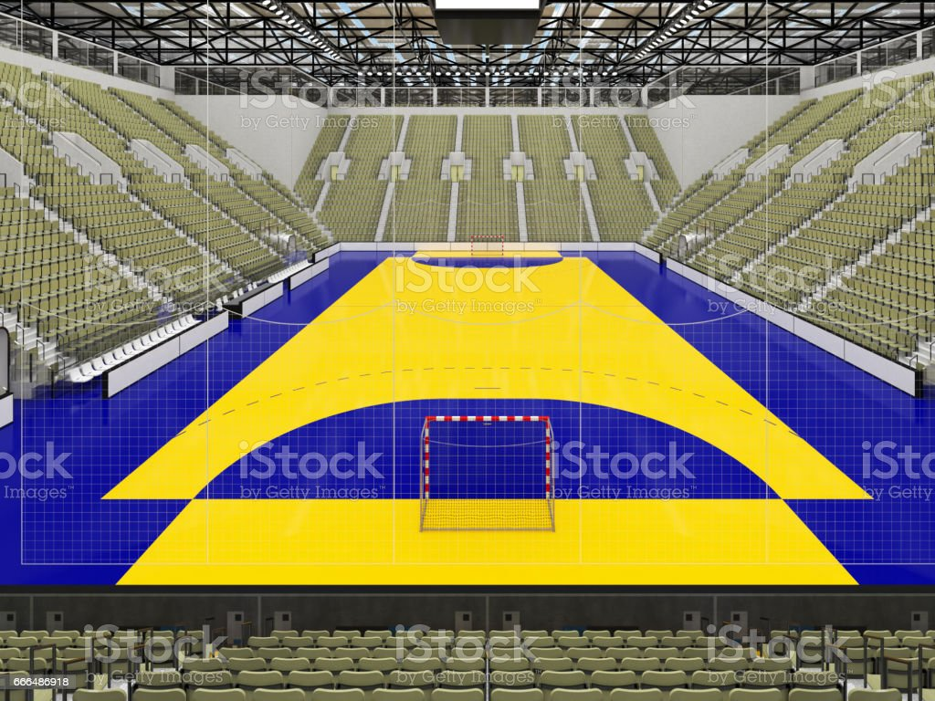 Beautiful sports arena for handball with gray olive green seats and VIP boxes stock photo
