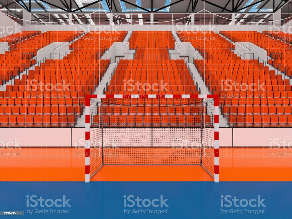 Beautiful sports arena for handball with orange seats and VIP boxes stock photo