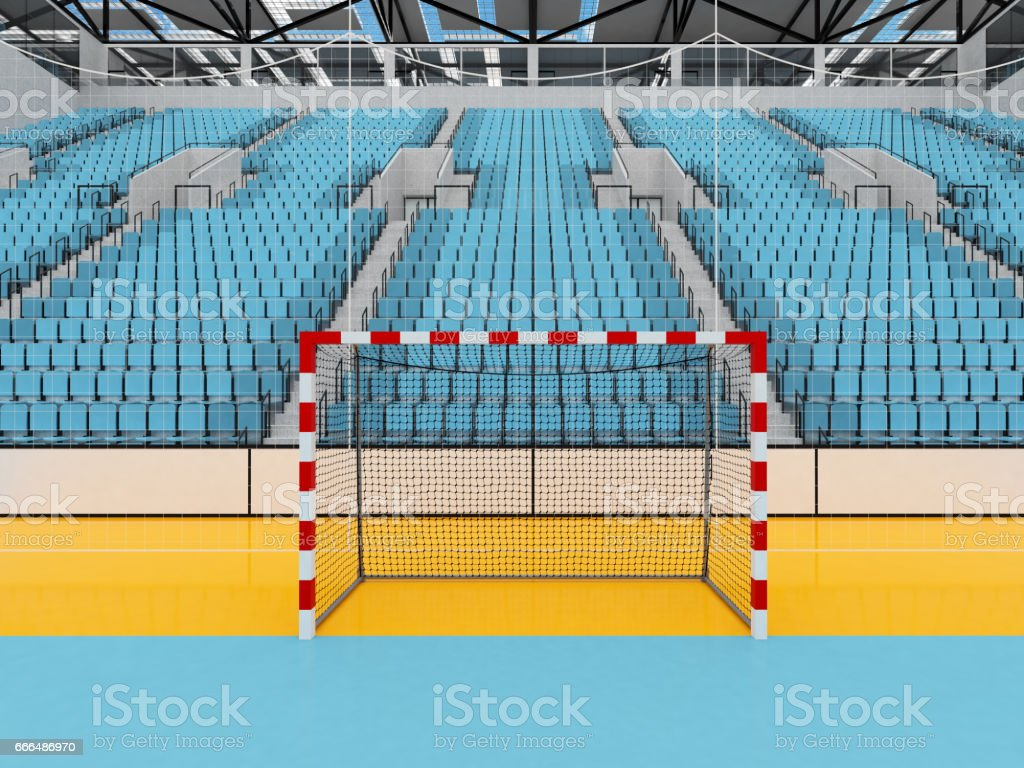 Beautiful sports arena for handball with sky blue seats and VIP boxes stock photo