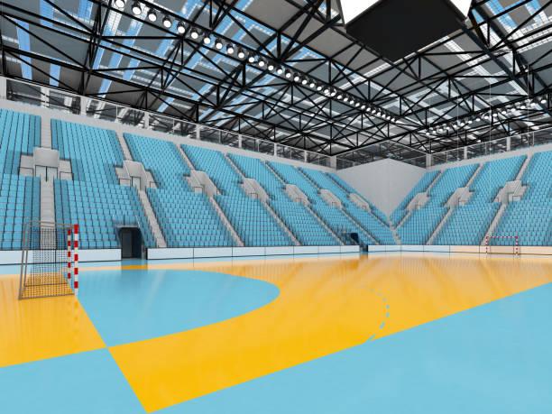 Hermoso estadio de Balonmano con azules cielo asientos y palcos VIP - foto de stock