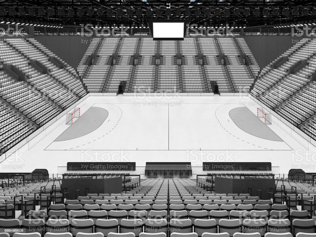 Beautiful sports arena for handball with white seats and VIP boxes stock photo