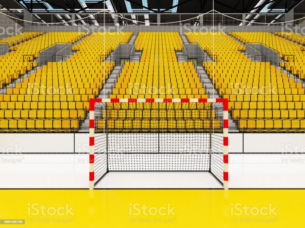 Beautiful sports arena for handball with yellow seats and VIP boxes stock photo