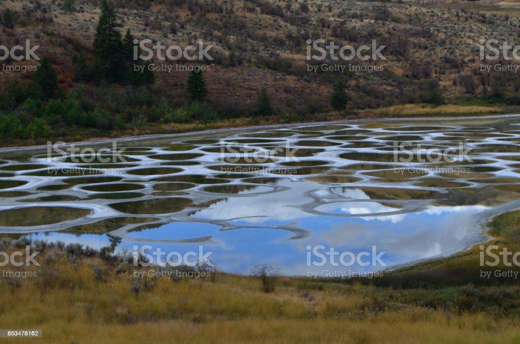 Beautiful spotted lake stock photo