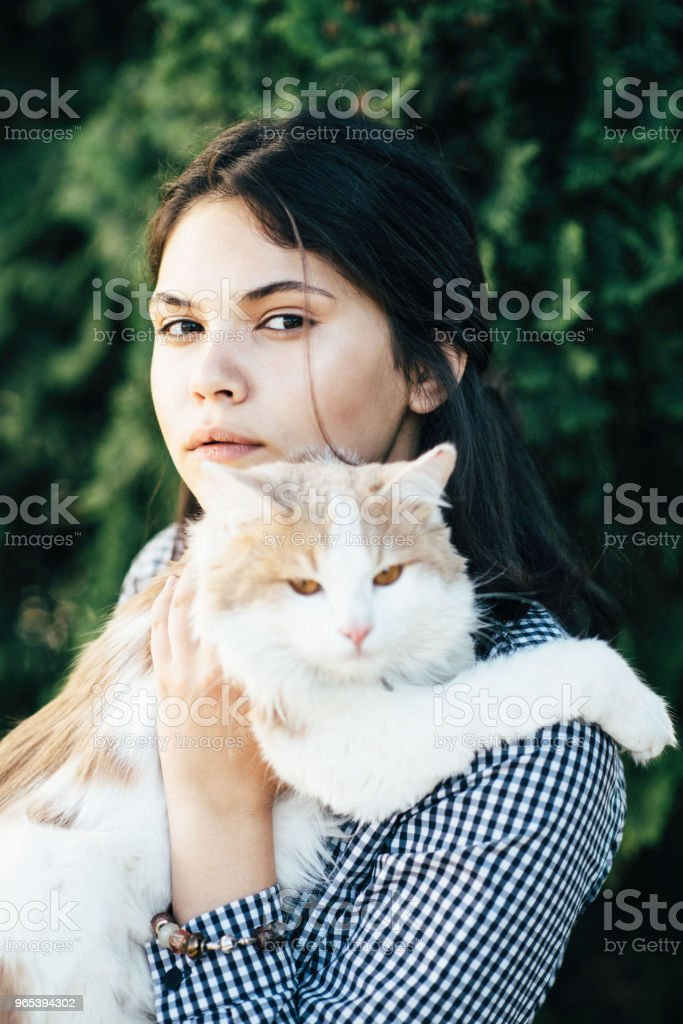 A beautiful spotted sits on the hands of a pretty girl on the background of green bushes royalty-free stock photo