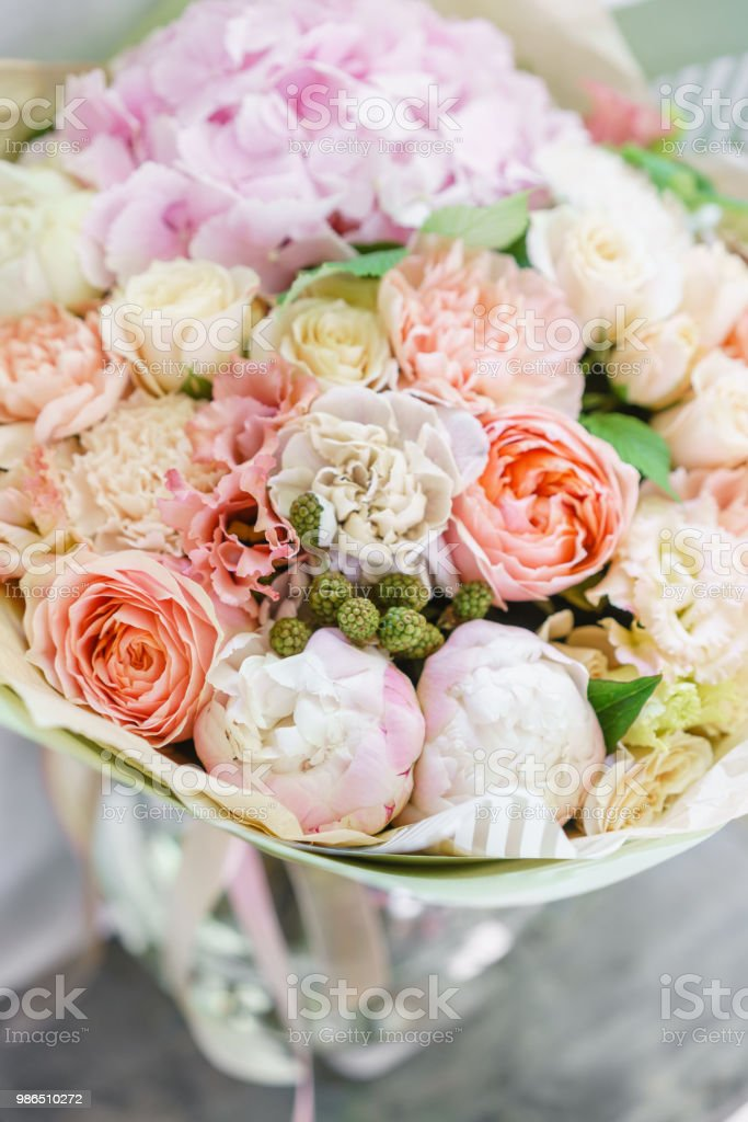 Beautiful spring bouquet flower arrangement with hydrangea and beautiful spring bouquet flower arrangement with hydrangea and peonies color light pink the mightylinksfo