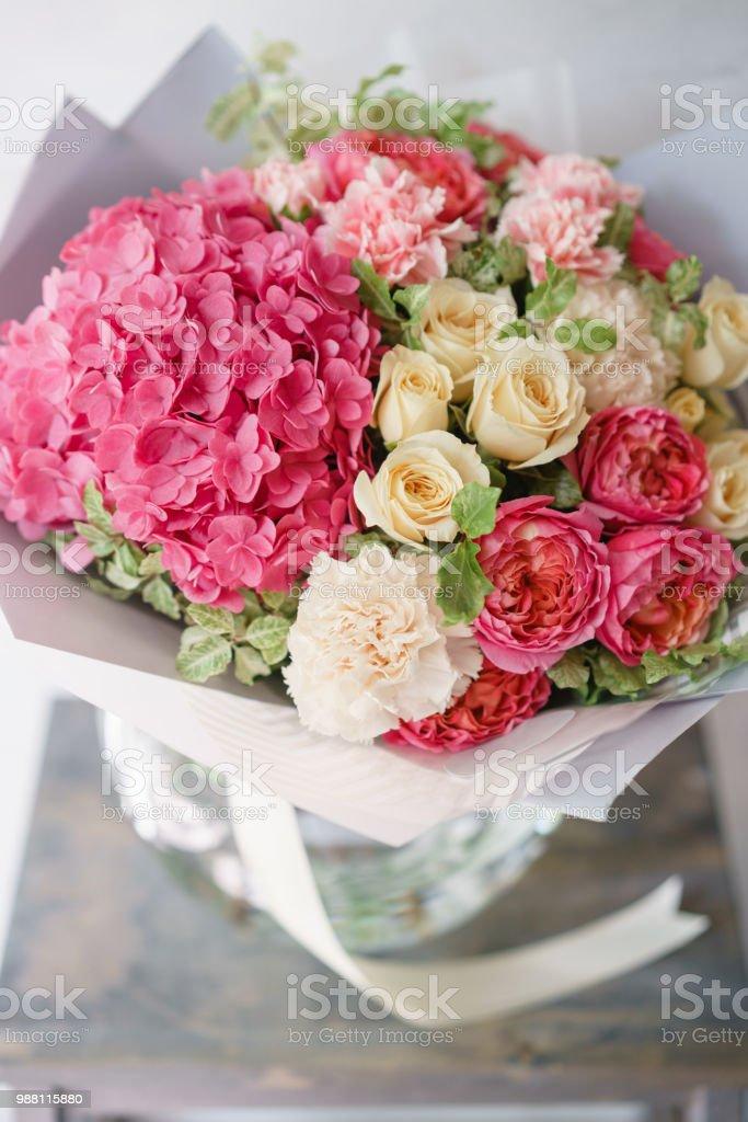 Beautiful spring bouquet flower arrangement with hydrangea and beautiful spring bouquet flower arrangement with hydrangea and peonies roses color light pink mightylinksfo