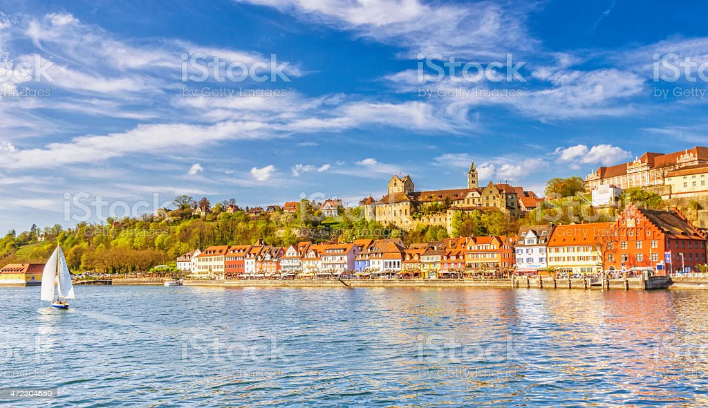 Beautiful spring day in Meersburg at Lake Constance (Bodensee) stock photo