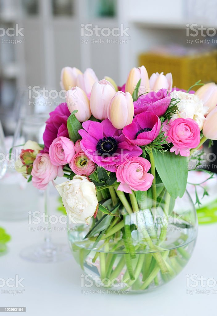 Beautiful spring flowers in a glass vase royalty-free stock photo