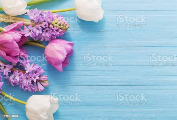 Beautiful spring flowers on blue wooden background picture id923231064?b=1&k=6&m=923231064&s=612x612&h=a8l70au7 pcl uvipwfyxcwdvrsk8fveon tdtpmr2s=