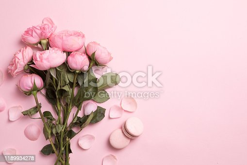 Beautiful spring flowers on pink background, flower frame composition