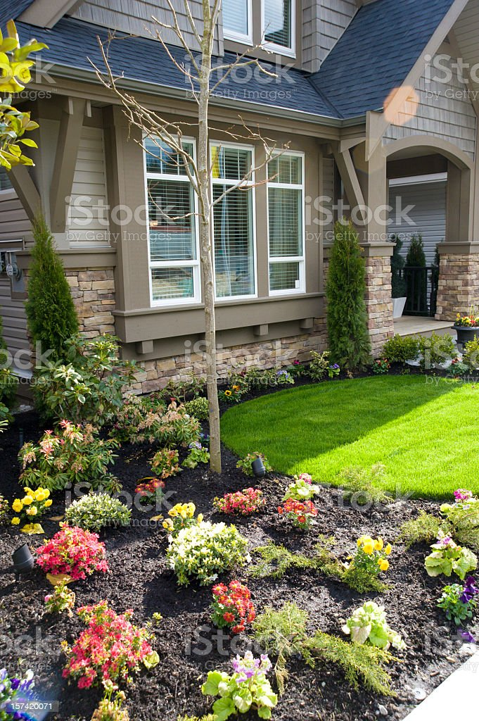 A beautiful spring front garden royalty-free stock photo