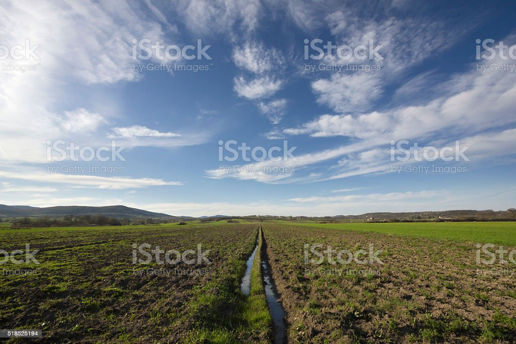 Beautiful springtime landscape in European countryside stock photo