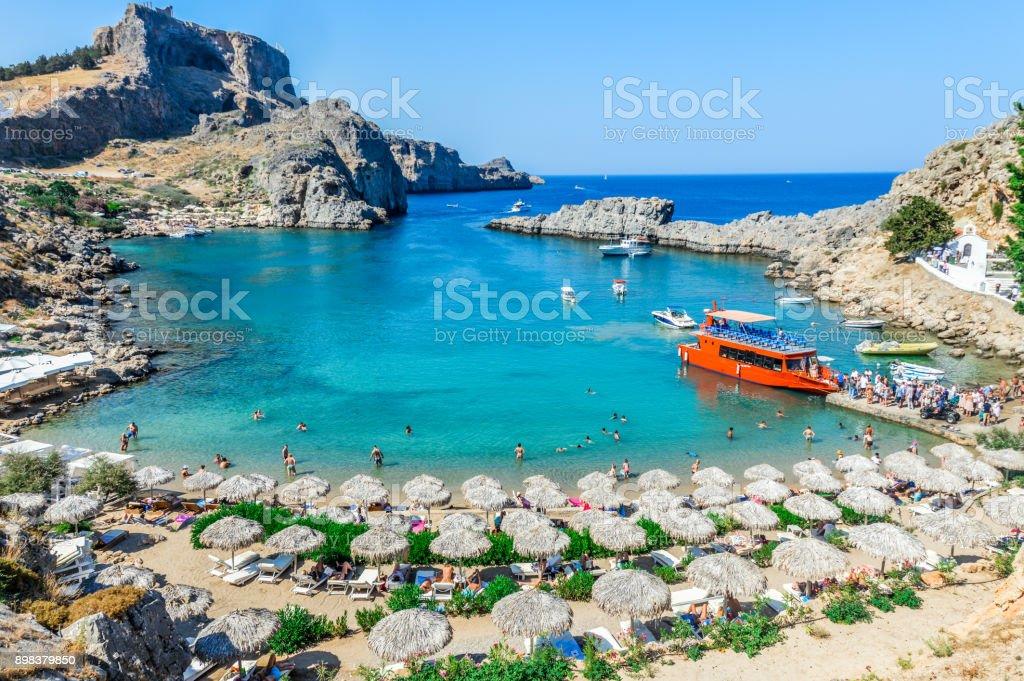 Beautiful St. Paul's Bay in Rhodes, Greece stock photo